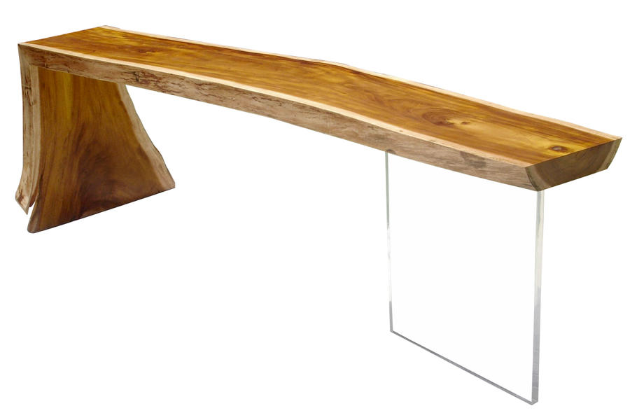 raw edge reclaimed wood slab console