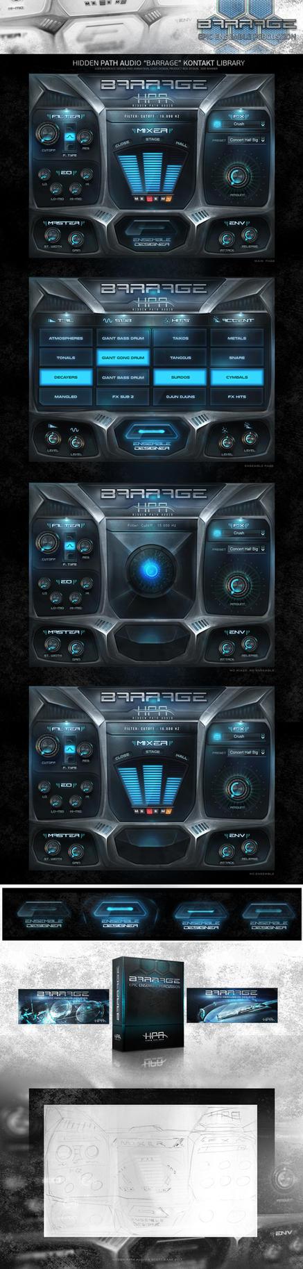 Hidden Path Audio Barrage Kontakt Library GUI by ScottKaneGUIs