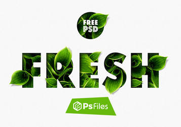 Fresh Green leaves Text Effects Free PSD Mockups by PsFiles