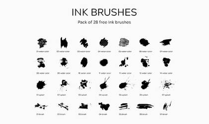 28 Ink Photoshop Brushes 2019 by PsFiles