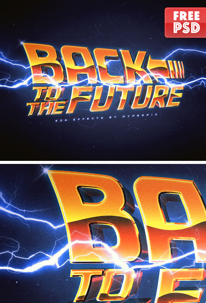 80s cinematic style Back to the Future Text Effect by PsFiles