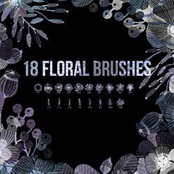 18 Watercolor Floral Photoshop Brushes by PsFiles