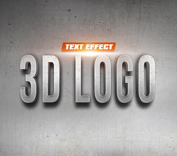 3D Logo on Wall Text Effect PsFiles by PsFiles