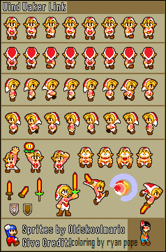 fire toon-link sprite sheet by - 16.0KB