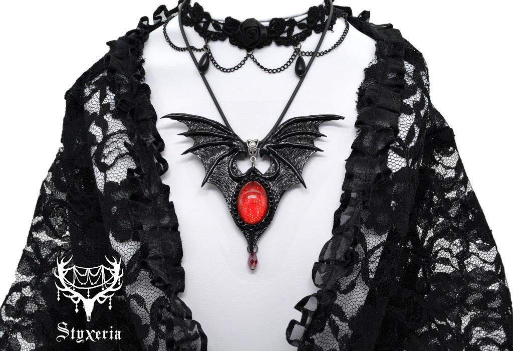 Vampire Gothic Clay Pendant 2 by Styxeria