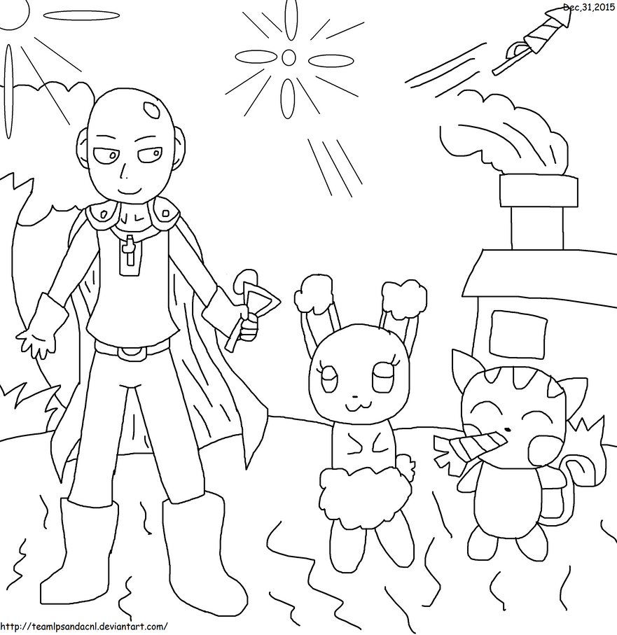 Line Art Year 1 : Saitama and her pokemon new year bash line art by