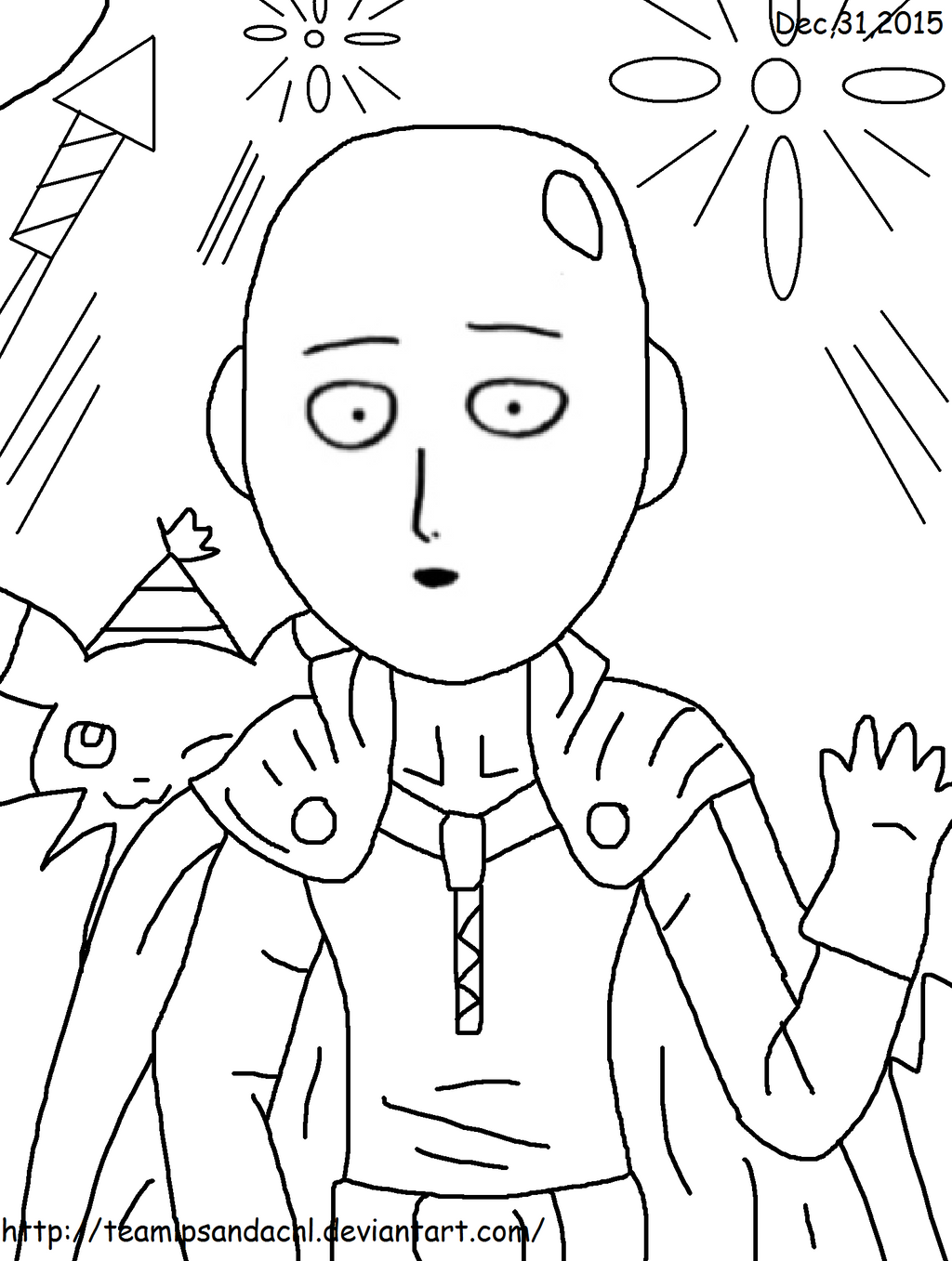 New Year S Line Art : New year saitama line art by teamlpsandacnl on deviantart