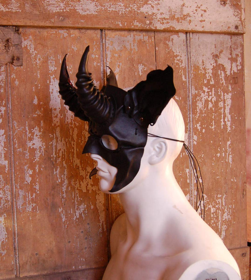 Leather Baphomet satyr mask in satin  black by MidnightZodiac