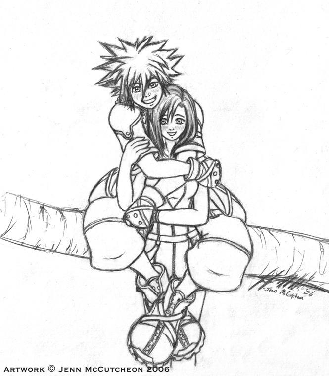 Sora Kingdom Hearts Lineart : Khii sora and kairi lineart by leafy chan on deviantart