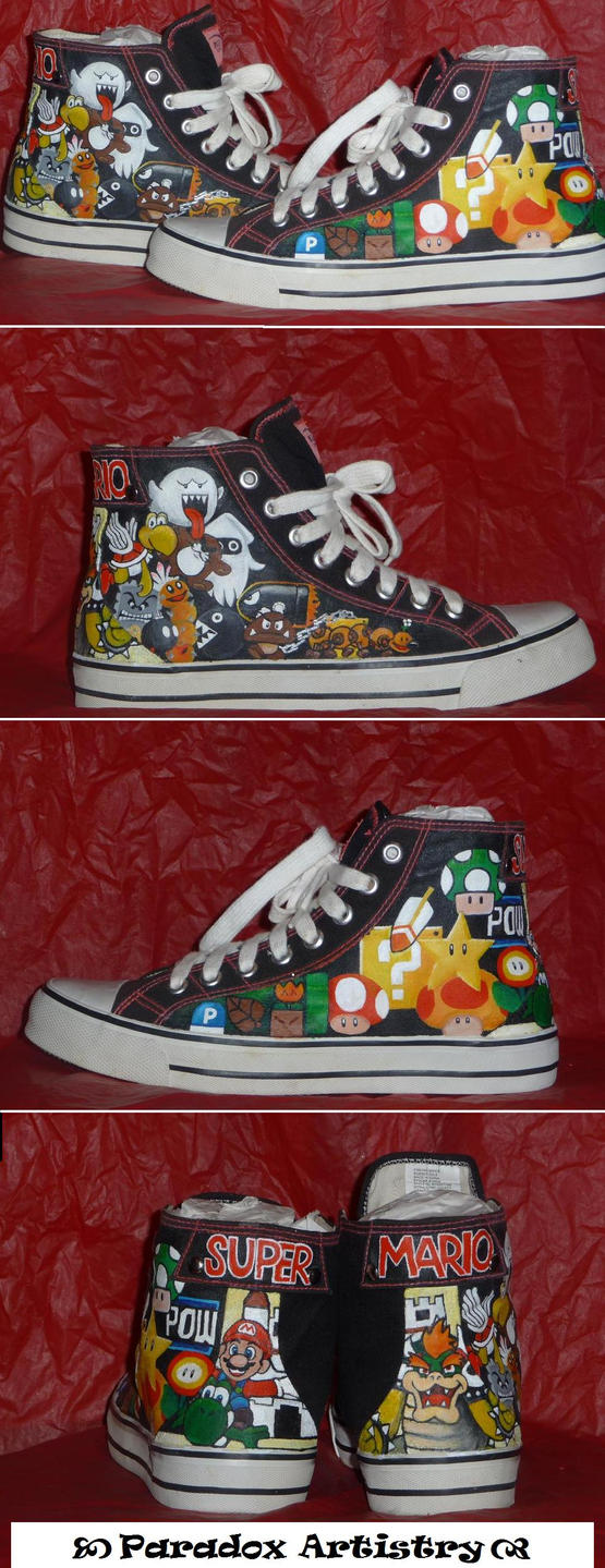 Hand Painted Mario Power Ups and Enemies MTA Shoes by Paradox-Artistry