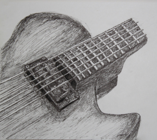 Guitar Pen Drawing By SIN DESIGN