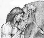 Tyr and Fenris Sketch