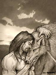 Tyr and Fenrir by Meredyth