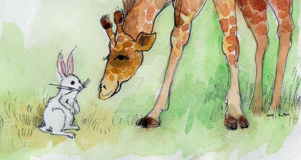 Rabbit and Giraffe by Huberific