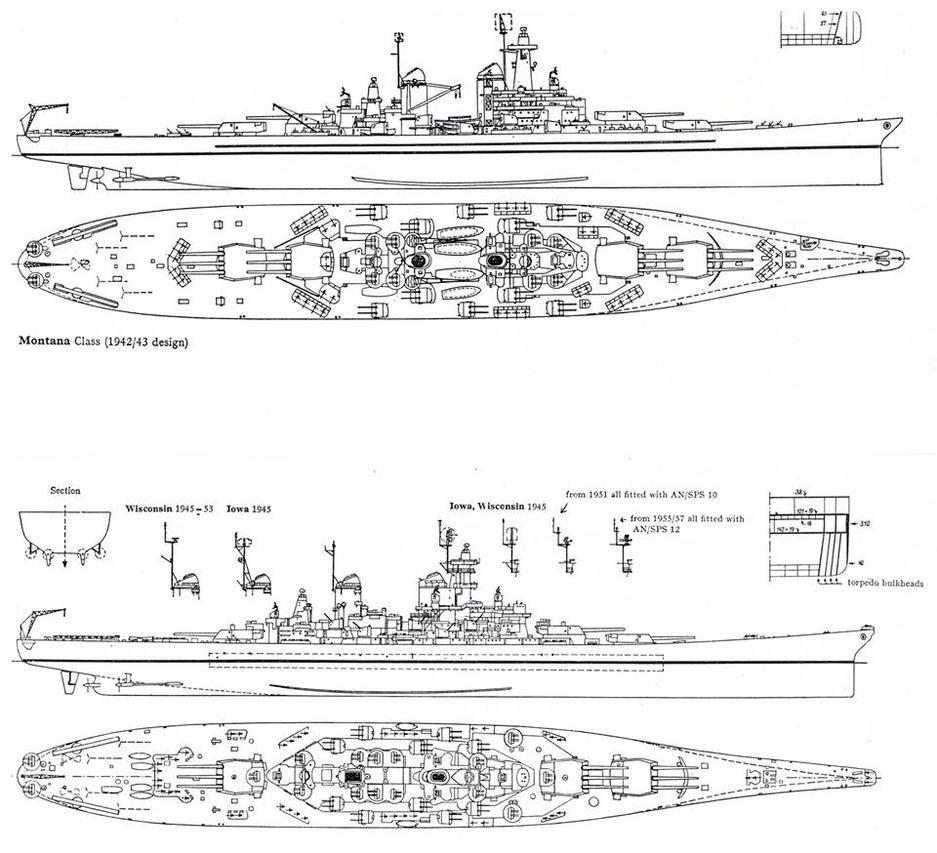 Line Drawing Ship : Battleships line drawings montana class iowa by