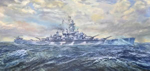 U.S.S. Alabama BB-60 Oil Painting By Les Thompson