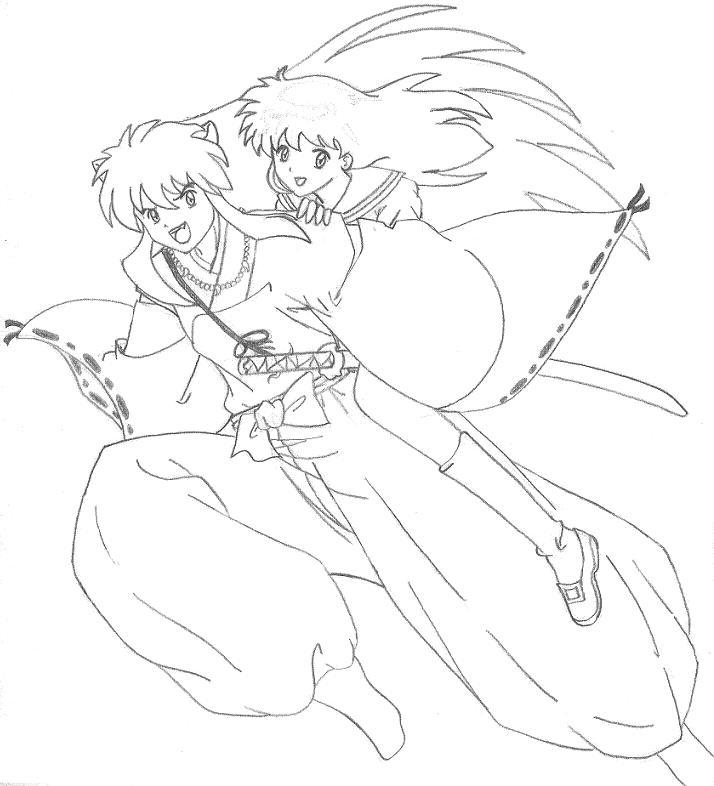 inuyasha and kagome by punkey101 on deviantart - Inuyasha Coloring Pages
