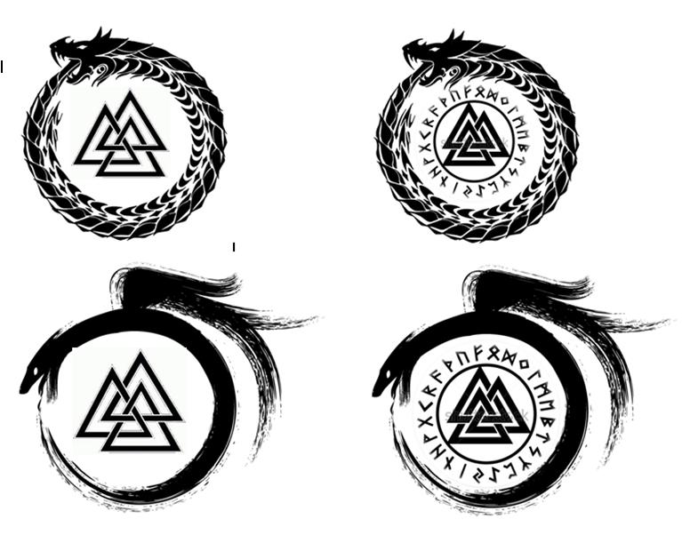 Ouroboros valknut by obivalion on deviantart for Valknut symbol tattoo