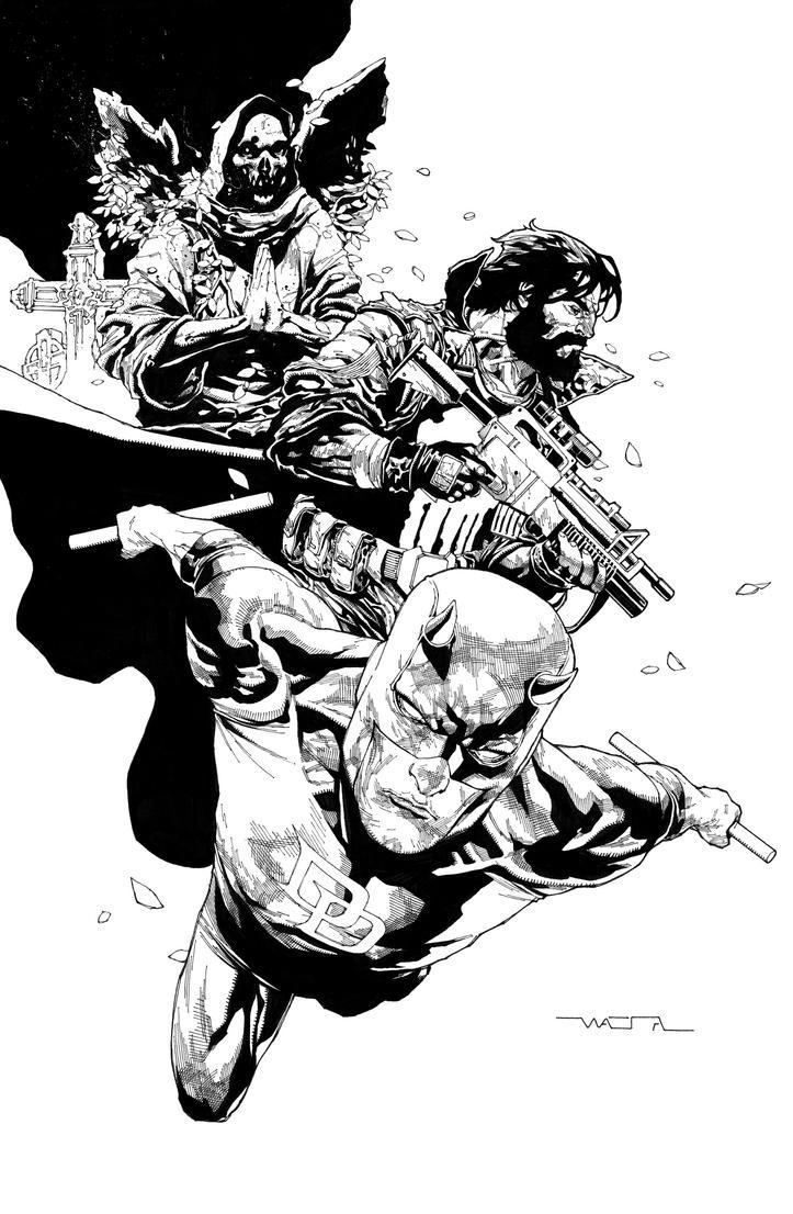 Daredevil + Punisher by fwatanabe