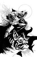 Batman and Gargoyle by fwatanabe