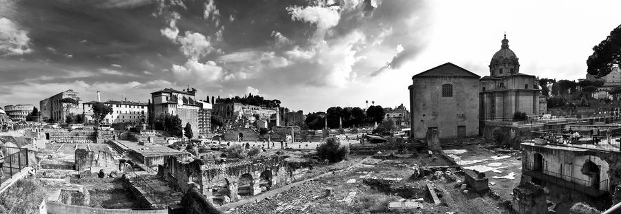 Roman forum black and white by scingio