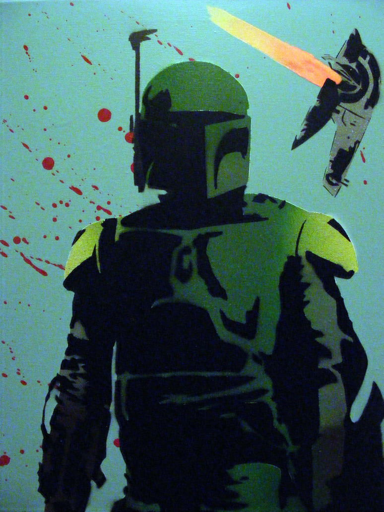 Boba Fett Slave1 Star Wars Original Spray Painting by TheStreetCanvas