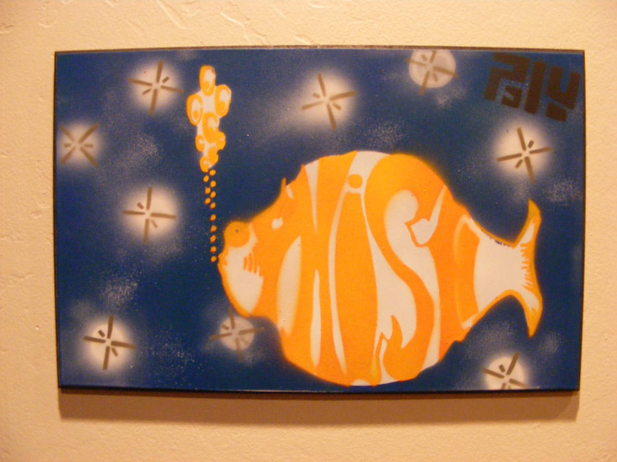 Phish spray paint stencil art on wood by thestreetcanvas - Painting with stencils on wood ...