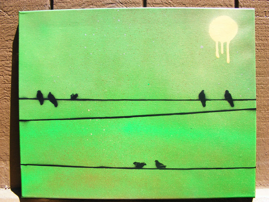 Birds on a wire spray paint stencil art on canvas by for Printable stencils for canvas painting