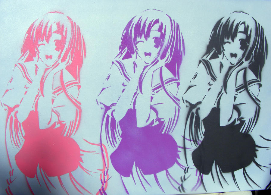 anime school girl spray paint stencil art large by thestreetcanvas on. Black Bedroom Furniture Sets. Home Design Ideas