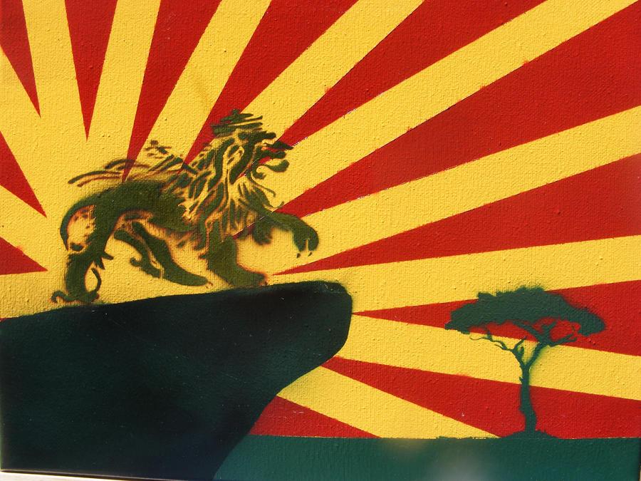 Rasta lion head stencil - photo#18
