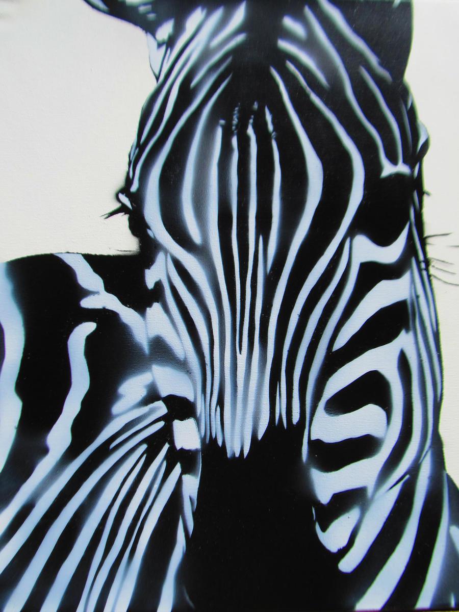 spray paint stencil graffiti art zebra close up by thestreetcanvas. Black Bedroom Furniture Sets. Home Design Ideas