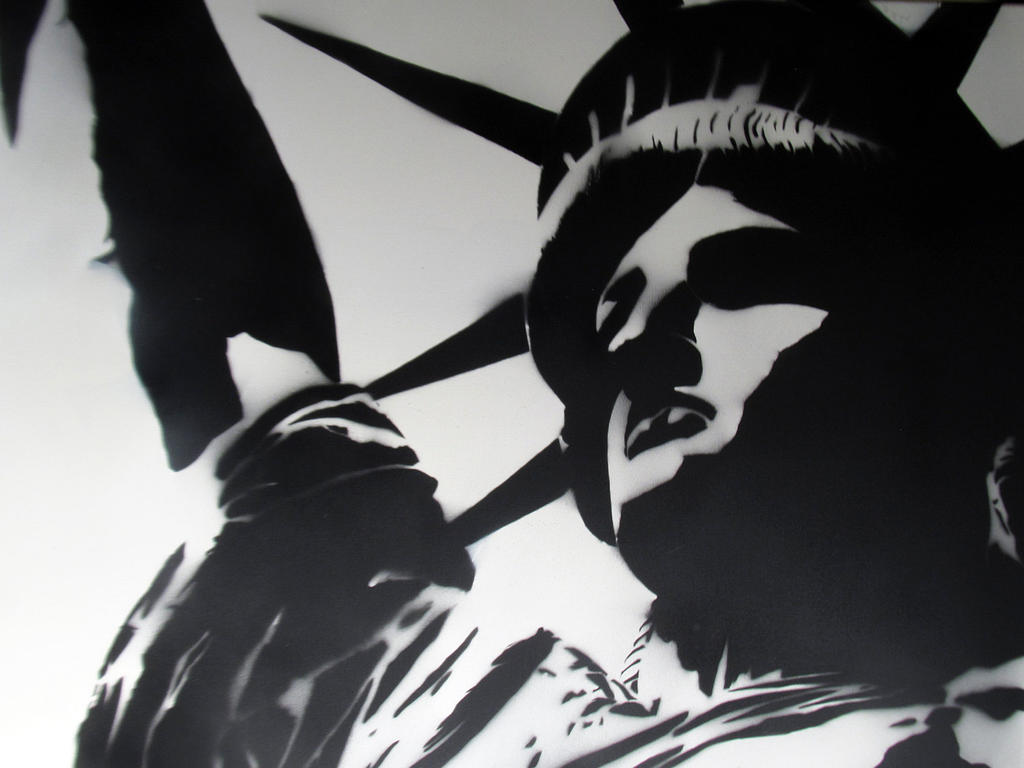 Spray Paint Stencils : Statue of liberty spray paint stencil modern art by