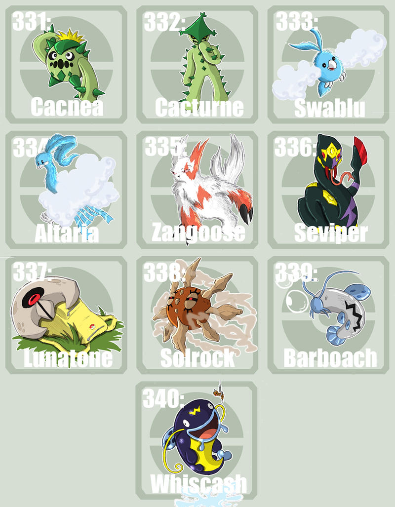Pokemon emerald pokedex pokedex art pokemon 331 to 340