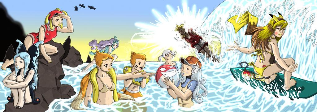 Gijinka Pokemon Beach Party by saurodinus