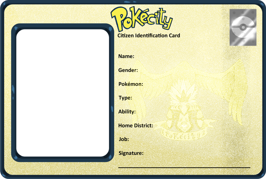PokeCity ID Card BLANK by saurodinus on DeviantArt – Blank Id Card Template