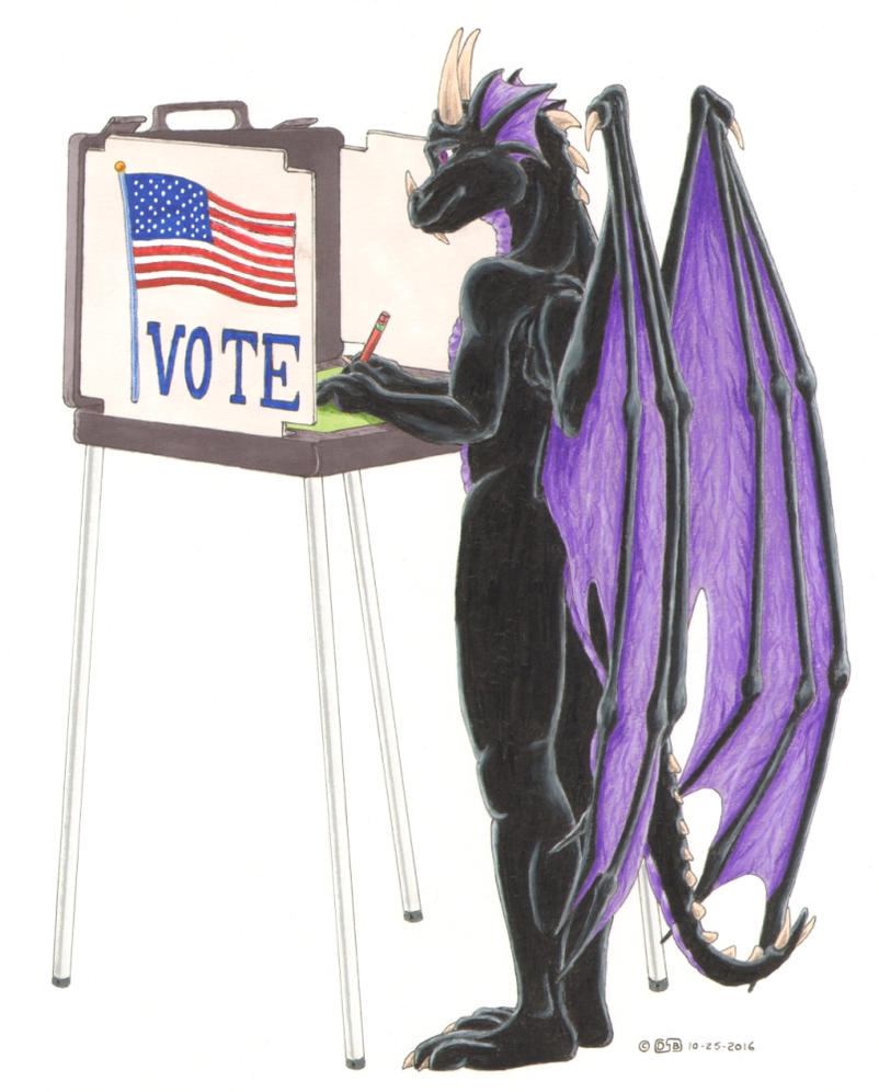 Dragon Getting Out The Vote by Rivercoon