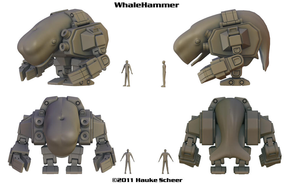 Cyborg Whale: Whalehammer - Now with figure prototype!
