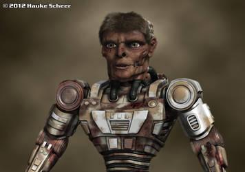 Cyborg Zombie closeup by hauke3000