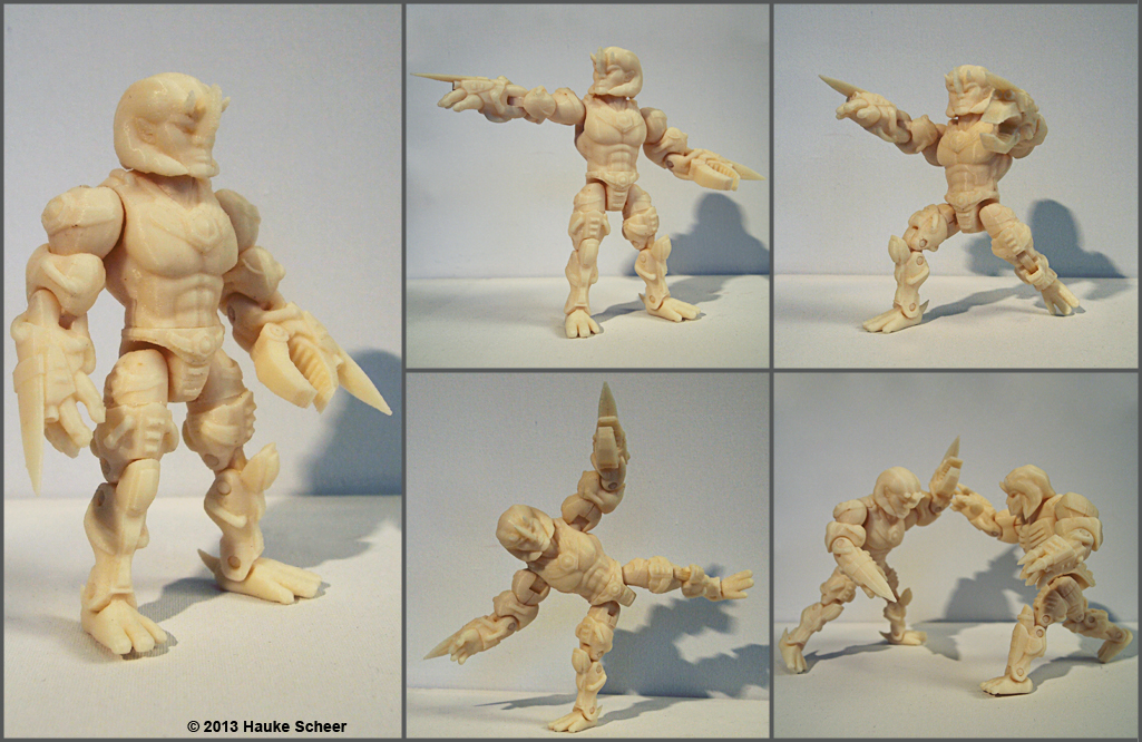 3D model for printing a figure with action figure like articulation
