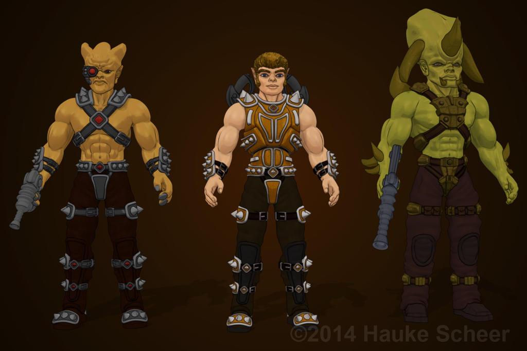 Y'Rok, Gabriel and Krotz cartoon style by hauke3000