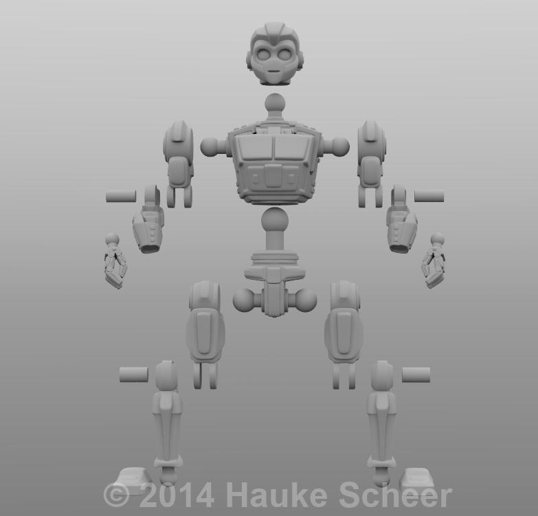 3D printable Robot Action Figure joint setup by hauke3000