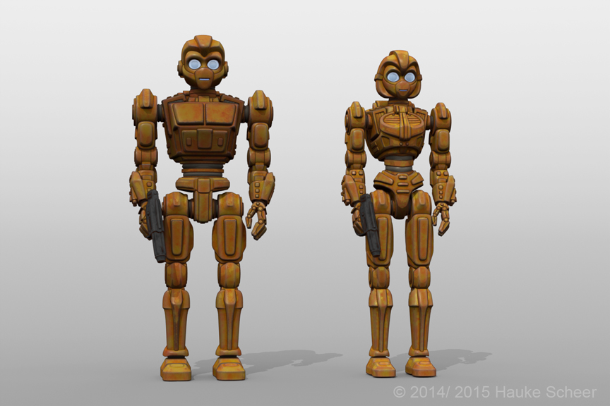 Robot characters with faceguard by hauke3000