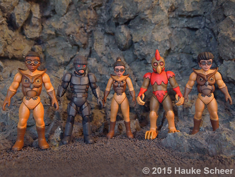 3D printed super hero sofubi figures by hauke3000