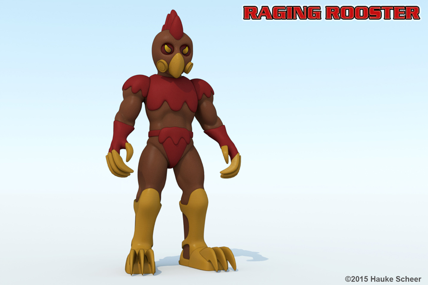 Raging Rooster colored 3D Model by hauke3000