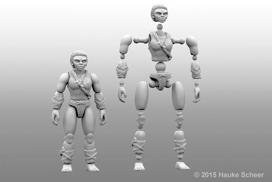 3D printed cavewoman action figure - joint setup by hauke3000