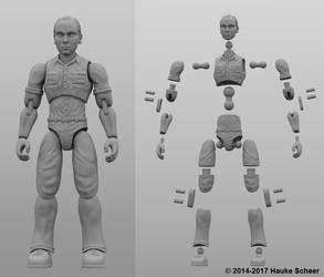 3 3/4 inch 3D printable action figure joint setup