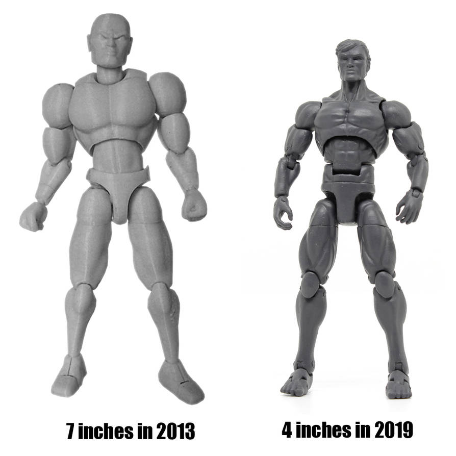 3D printed action figure comissions then and now by hauke3000