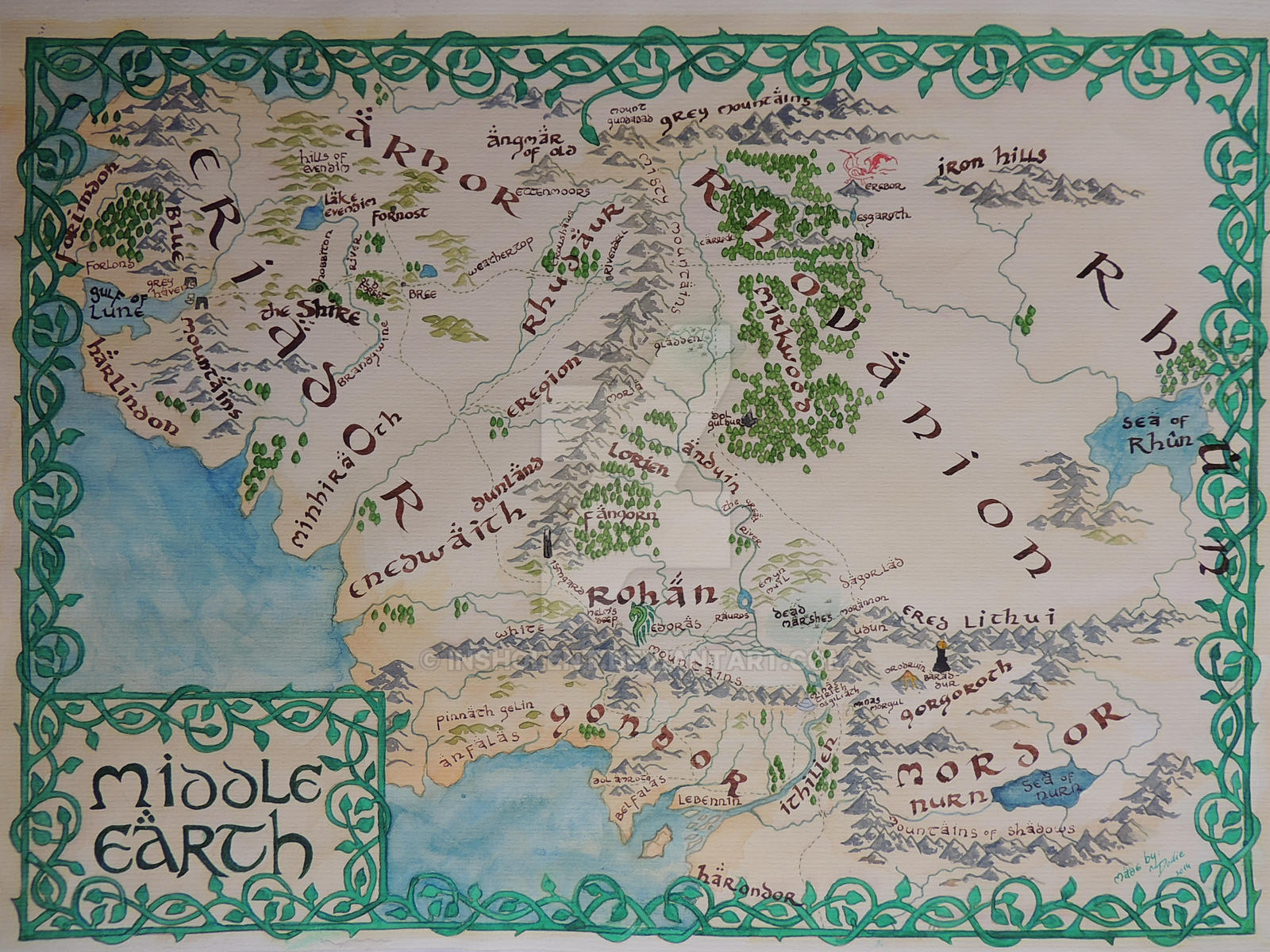 middle earth map by insholent middle earth map by insholent
