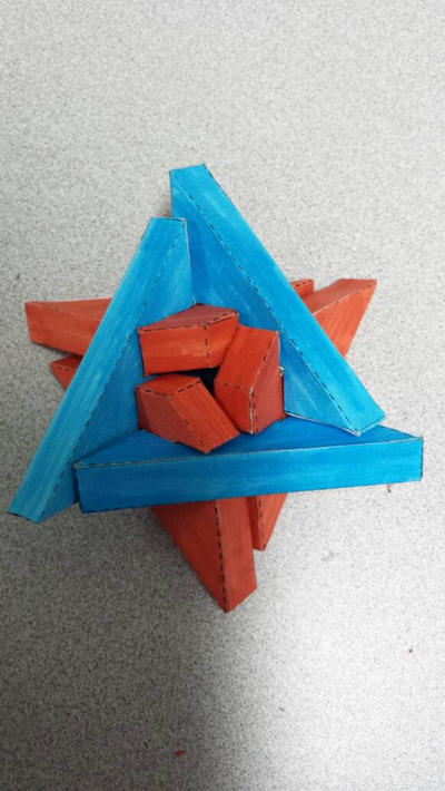 papercraft triangular burr puzzle by galaxy5111