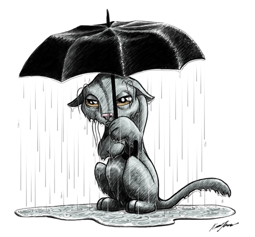 Cat Under Umbrella by K-B-Jones